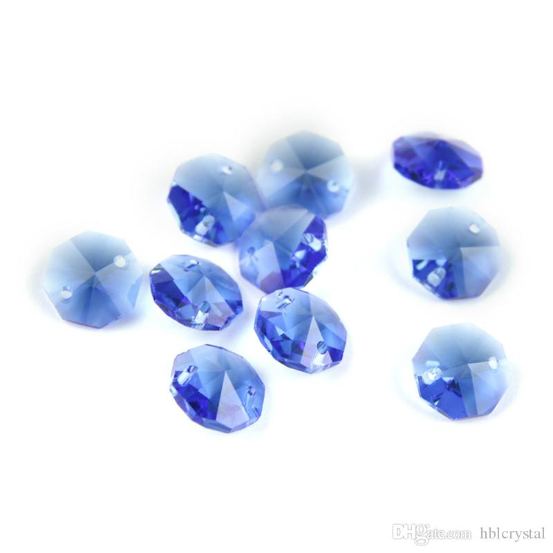 50pcs 14 mm 2 trous Octogone Verre Cristal Prism Décoration Perles Lots Rose