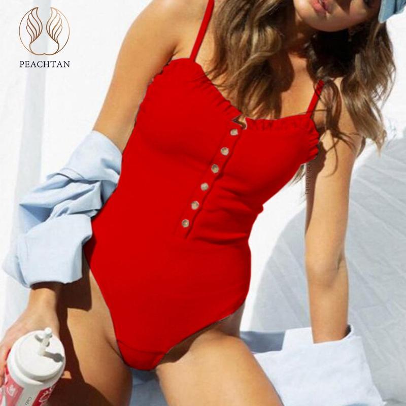 Traje de baño para mujer Peachtan volantes traje de baño One Piece Push Up Mujeres Bañadores Monokini String Sexy Red Bikinis 2021 Mujer Body Summer