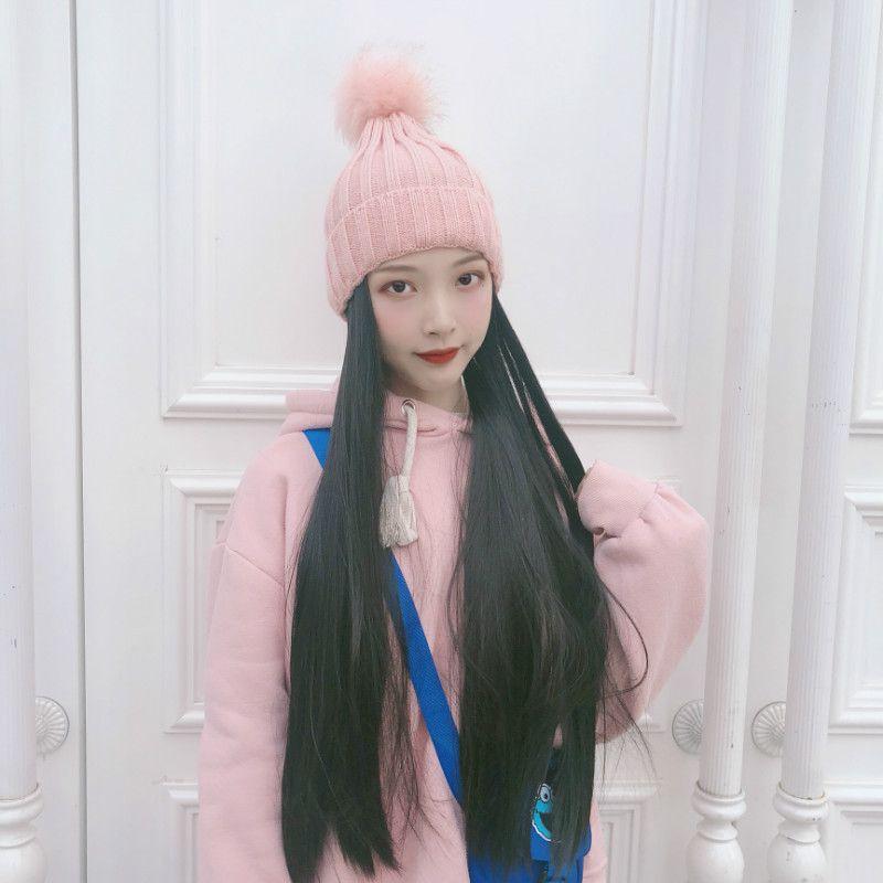 Şapka Peruk Bir Kadın Sonbahar Ve Kış Örgü Şapka mao Qiu mao-Style Uzun Düz Saç Fabrika Toptan Nokta Ayak Isınma