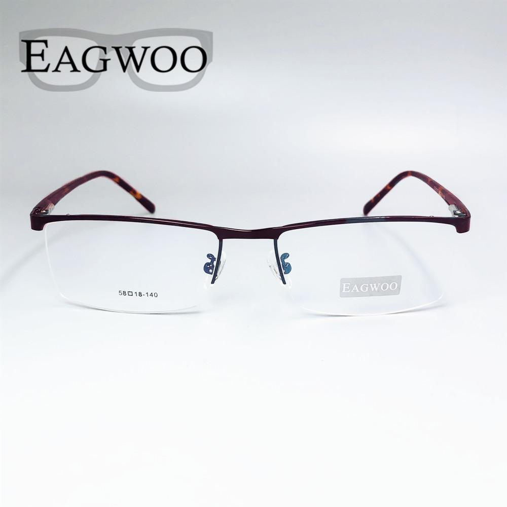 Toptan-Metal Alaşım Yarım Jant Optik Çerçeve Reçete Erkekler Dikdörtgen Eyegliness Gözlük Spor Gözlük Geniş Büyük Yüz 58mm
