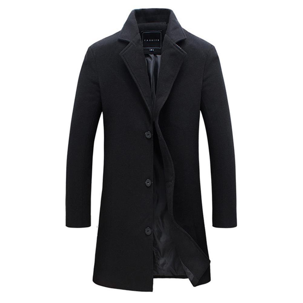 2018 Мода мужская шерстяное пальто зима теплая сплошной цвет длинный тренч куртка мужской однобортный бизнес повседневная пальто куртка