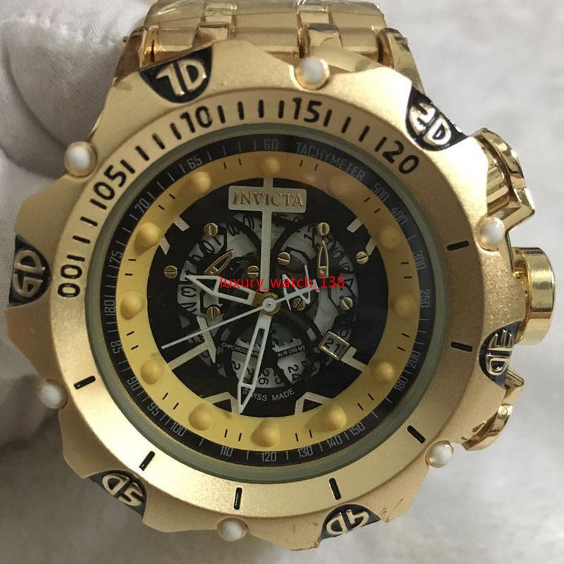9a نوعية جيدة الرجال إنفيكتا الذهب الساعات الفولاذ الصلب حزام رجل الساعات الكوارتز المعصم relogies للرجال relojes أفضل هدية الساخن بيع