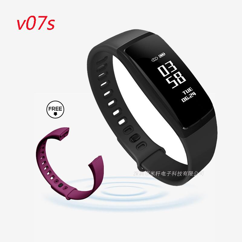 Smart2019 V07 Intelligence Blood Pressure Monitor Braccialetto di movimento Bluetooth Plan Step