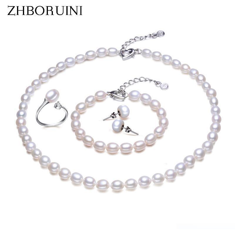 argent ZHBORUINI Perle Sets Bracelet Bague Boucles d'oreilles Collier Perles d'eau douce naturelle 925 bijoux en argent sterling pour les femmes