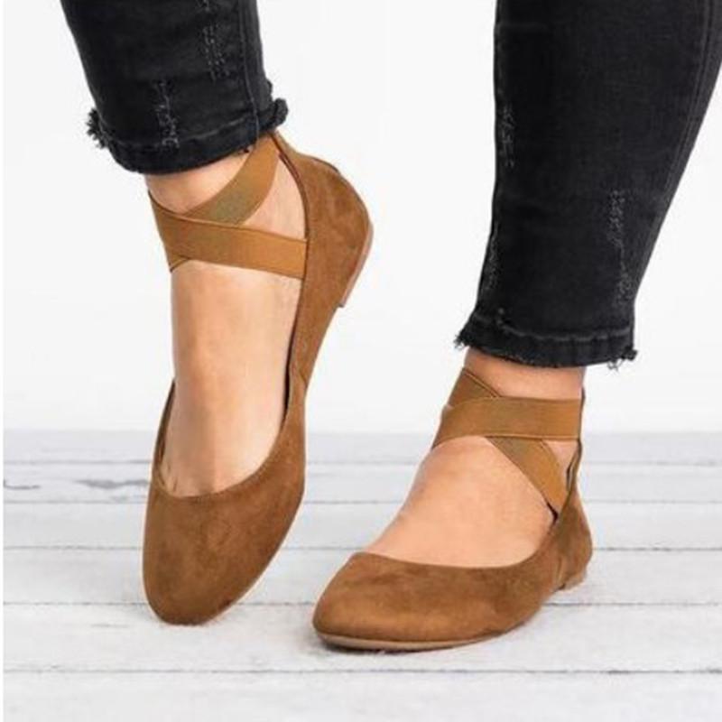 Le donne di moda Jrnnorv Classic BALLERINA elastico Crossing cinturini alla caviglia Ballerine yoga piatte Scarpe: Shoes LY191129