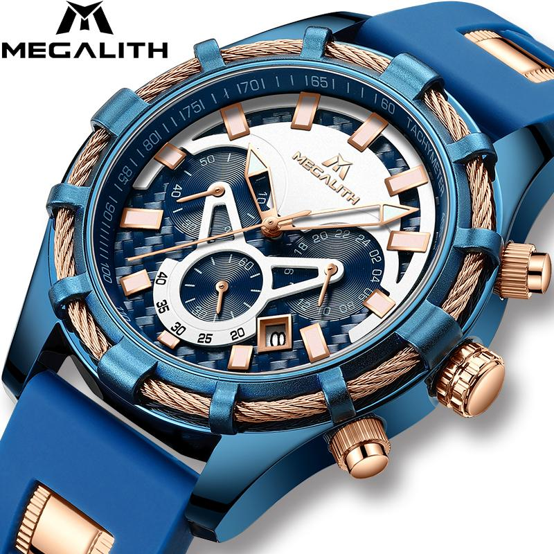 MEGALITH Men Watches Top Brand Luxury Luminous Display Waterproof Watches Sport Chronograph Quartz Wrist Watch Relogio Masculino V191115
