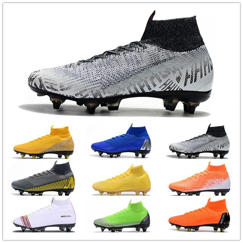 2019 Mercurial Superfly VI 엘리트 SG AC 남자 축구화 Crampons De Football 부츠 Chuteira Ronaldo Neymar 남자 월드컵 축구 클리트