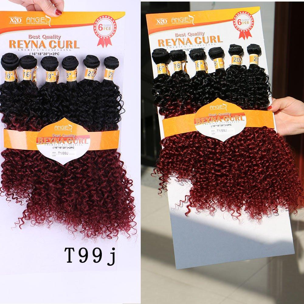 REYNA CURLS 16 16 18 18 20 20inch Synthetic 6pieces/pack Curly Weave Hair Blond Brown Natural Color Kinky Curly Weave Hair Extension