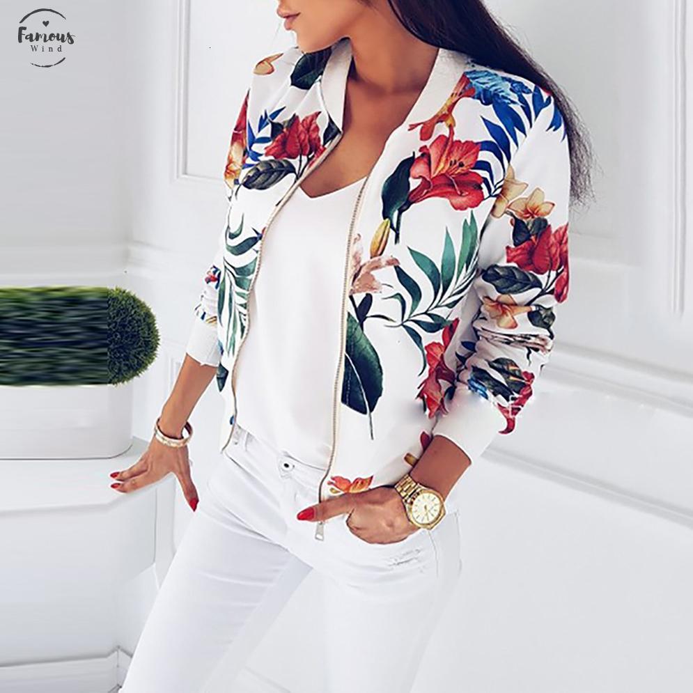 Dimensioni Bomber Jacket donna a maniche lunghe primavera signore delle parti superiori del cappotto della chiusura lampo casuale del rivestimento stampato floreale Womens Outwear