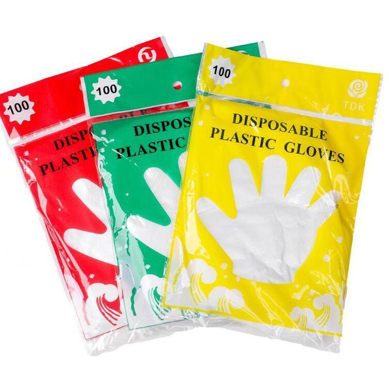 100шт 1 мешок PE одноразовые перчатки Маслостойкие водонепроницаемые прозрачные варежки для дома чистый ресторан барбекю кухонные перчатки KKA7745
