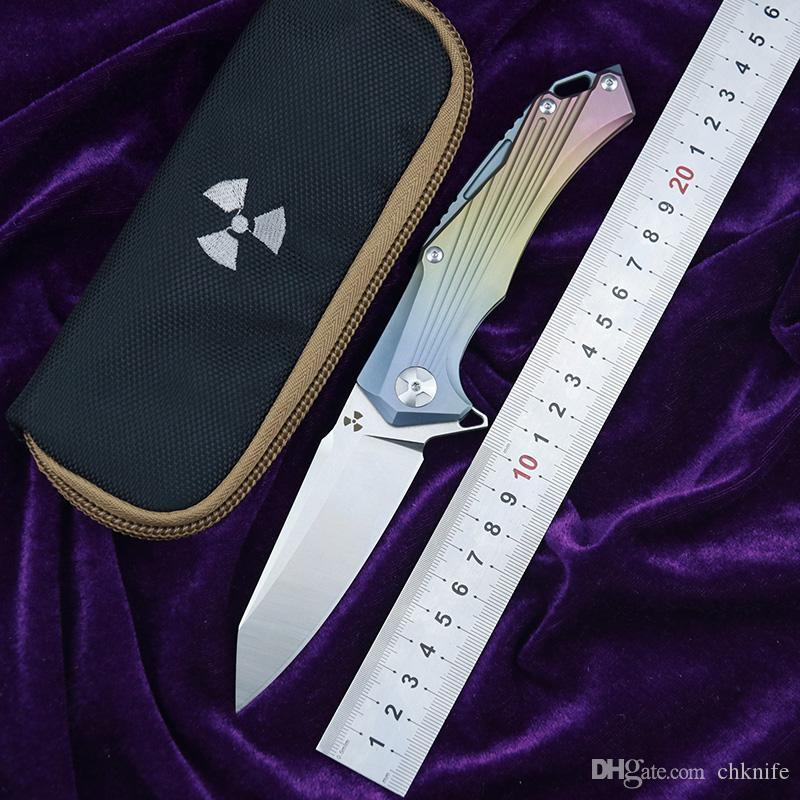 JK3287 Flipper D2 lame en acier Titane poignée camping en plein air chasse poche cuisine fruits couteau pliant EDC outil