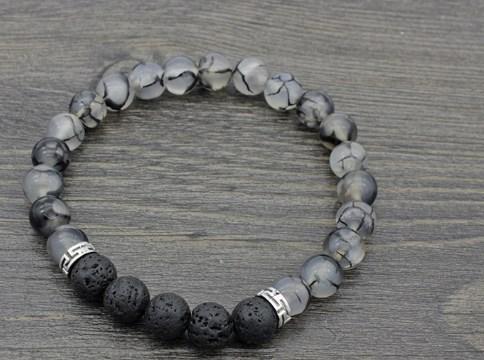 8 milímetros hr453 ajustado encanto preto do grânulo do dragão preto lava vulcânica Pedra Bracelet talão óleos essenciais mulheres difusor