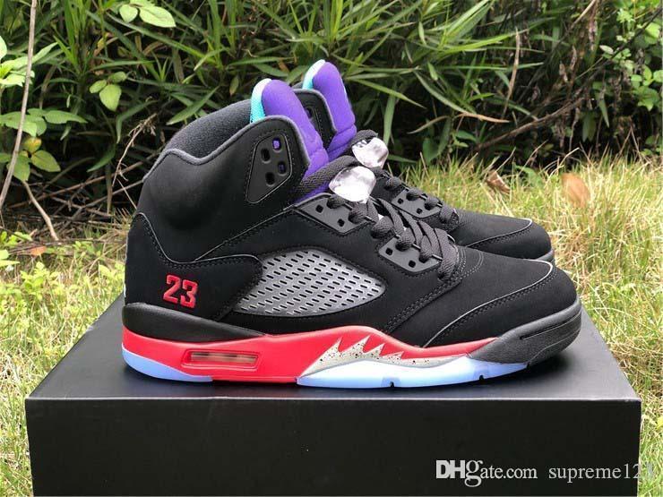 Hot alta de ar autênticos 5 Top 3 tênis de basquete Retro Preto Emerald Fire Red 5S Man Sports Sneakers CZ1786-001 Com Box