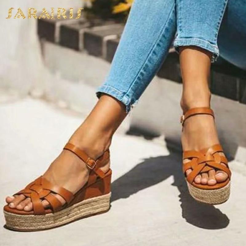 Sarairis 2020 Hot Sale Wedge Heels Concise Sandals Women Shoes Buckle Strap sapatos de plataforma atacado verão Mulher Sandals