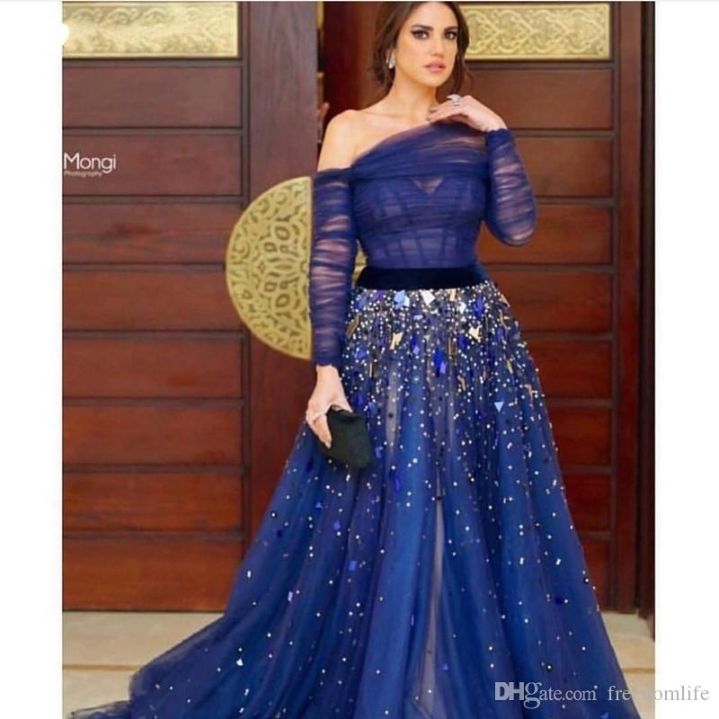 Elegant aus der Schulter Royal Blue Abendkleider 2019 Langarm muslimischen Abendkleid Robe Soiree Dubai Party Kleider