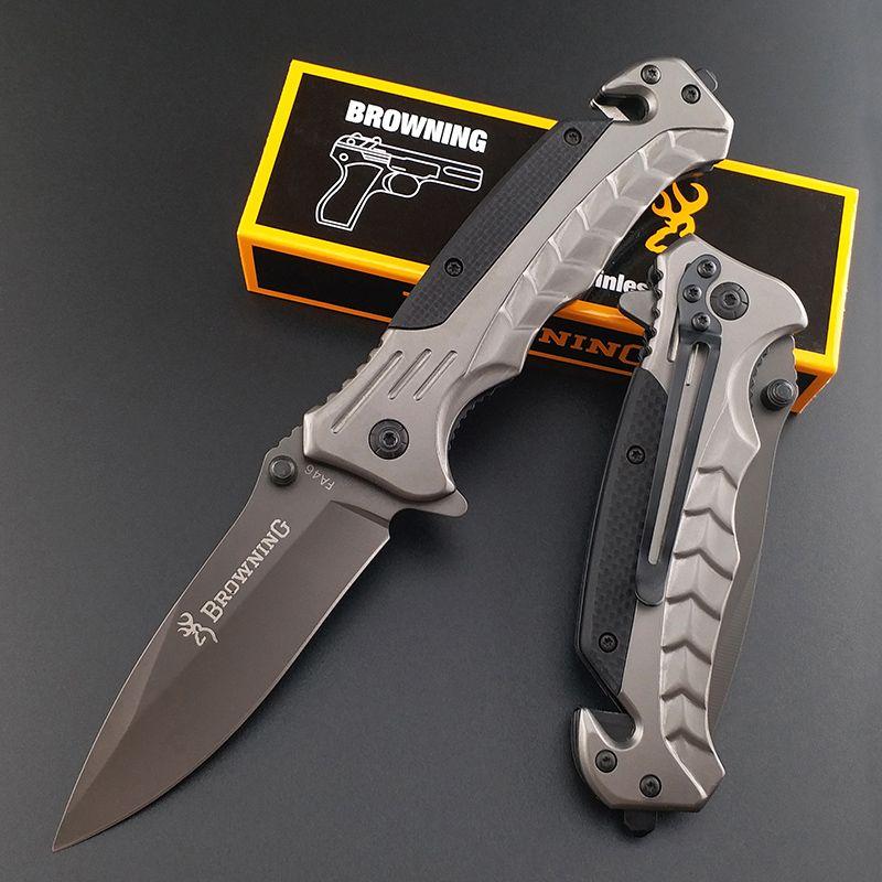 Browning FA46 finition titane forte lame de pliage Couteau tactique sauvetage chasse poche poignée assistée finition titane G10 couteau extérieur