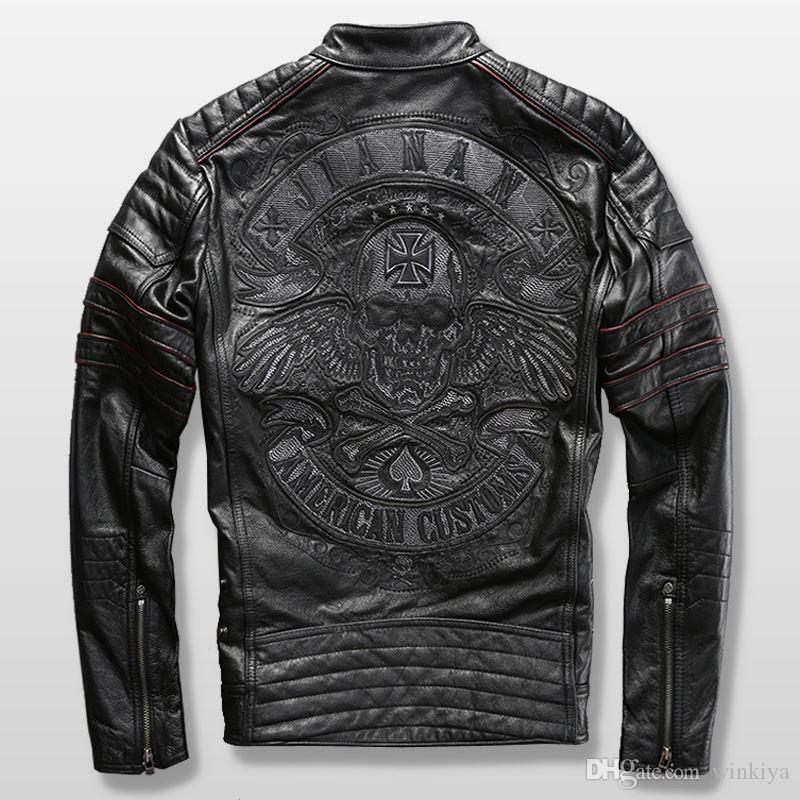할리 오토바이 라이더 재킷 남성 가죽 재킷 남성 정품 소가죽 자수 해골 가죽 재킷 슬림