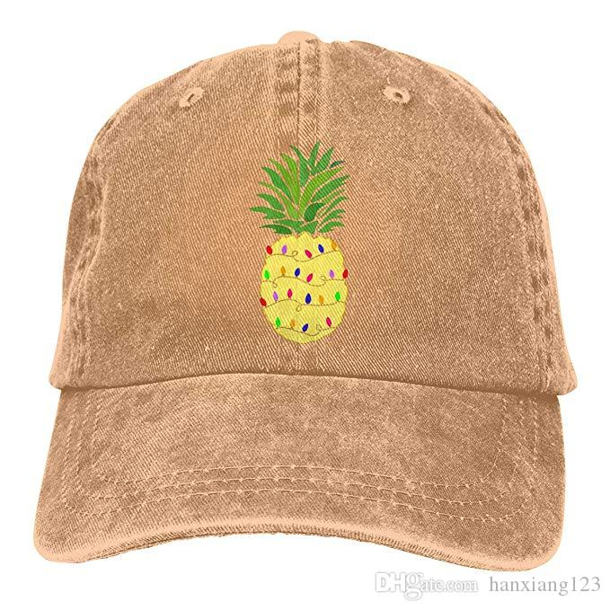 2019 New Custom Baseball Caps Pineapple Christmas Tree Lights Mens Cotton Adjustable Washed Twill Baseball Cap Hat