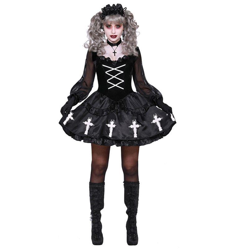 Fantôme gothique Costumes Cosplay mariée Voodoo Doll Noir Vampire Robe pour adultes femmes Costumes d'Halloween Outfit
