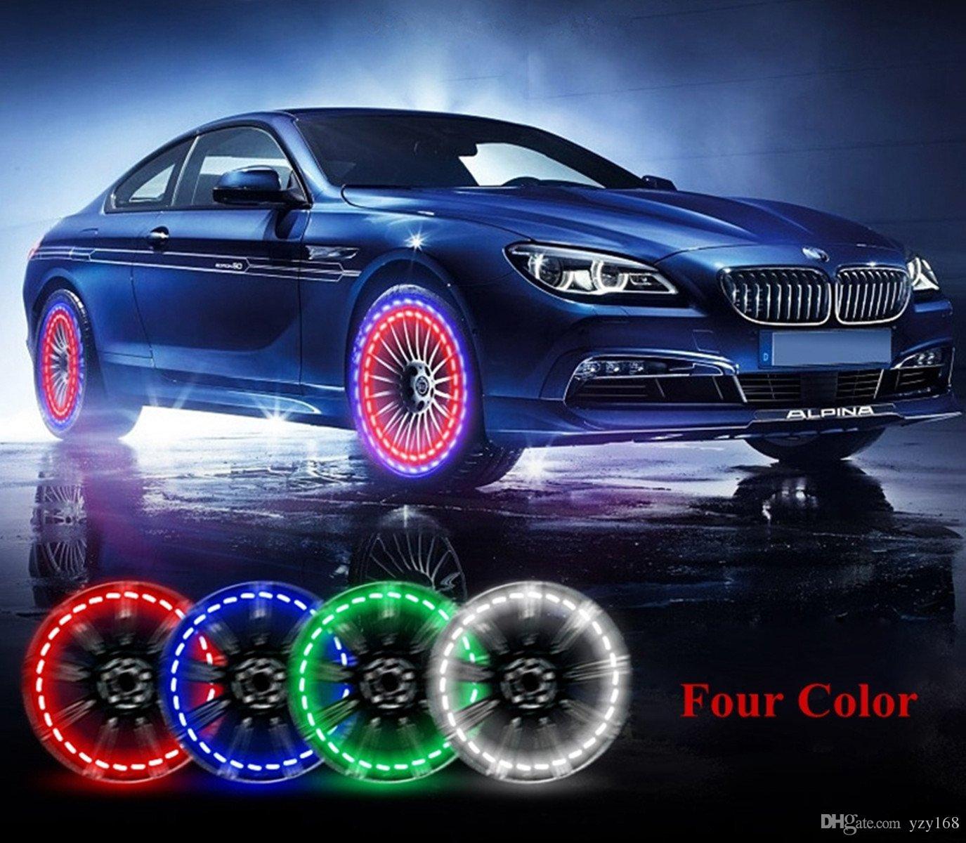 أضواء عجلة سيارة الإطارات ، 4 قطع الشمسية سيارة عجلة الاطارات صمام الهواء كاب ضوء مع مجسات الحركة الملونة الصمام الاطارات ضوء فوهة الغاز كاب استشعار الحركة