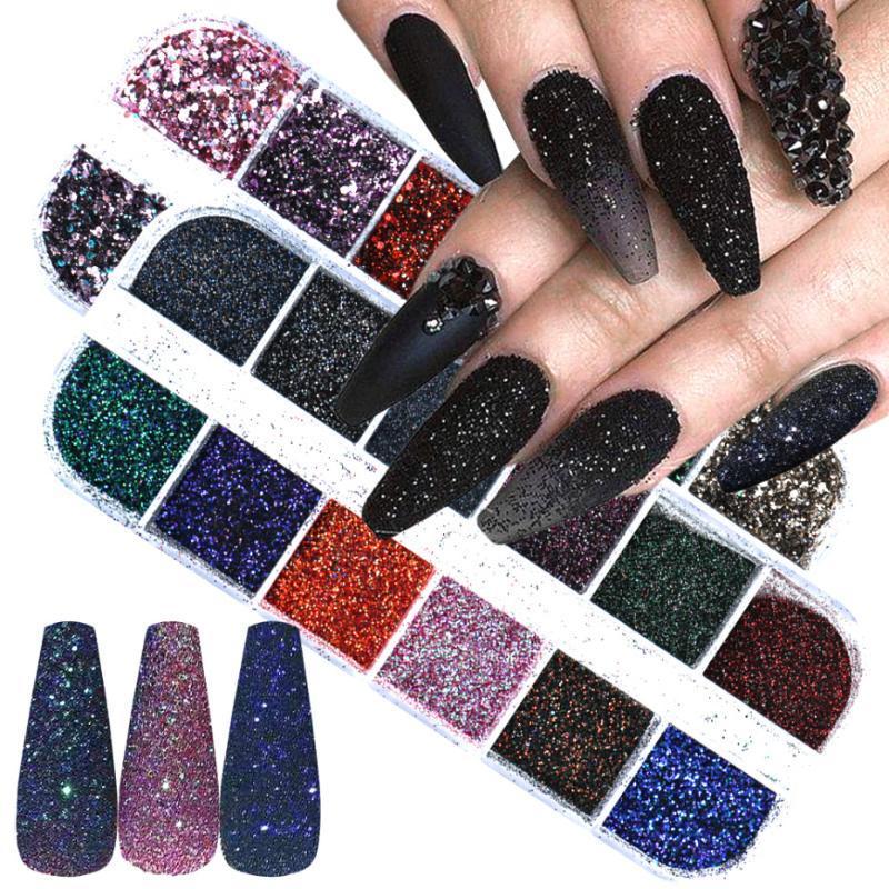 12 Grids ongles Glitter Set Holographic Sparkles Flakes 3D Chrome pigment poussière Hexagon sirène Paillettes fleurs séchées Décor LA1585