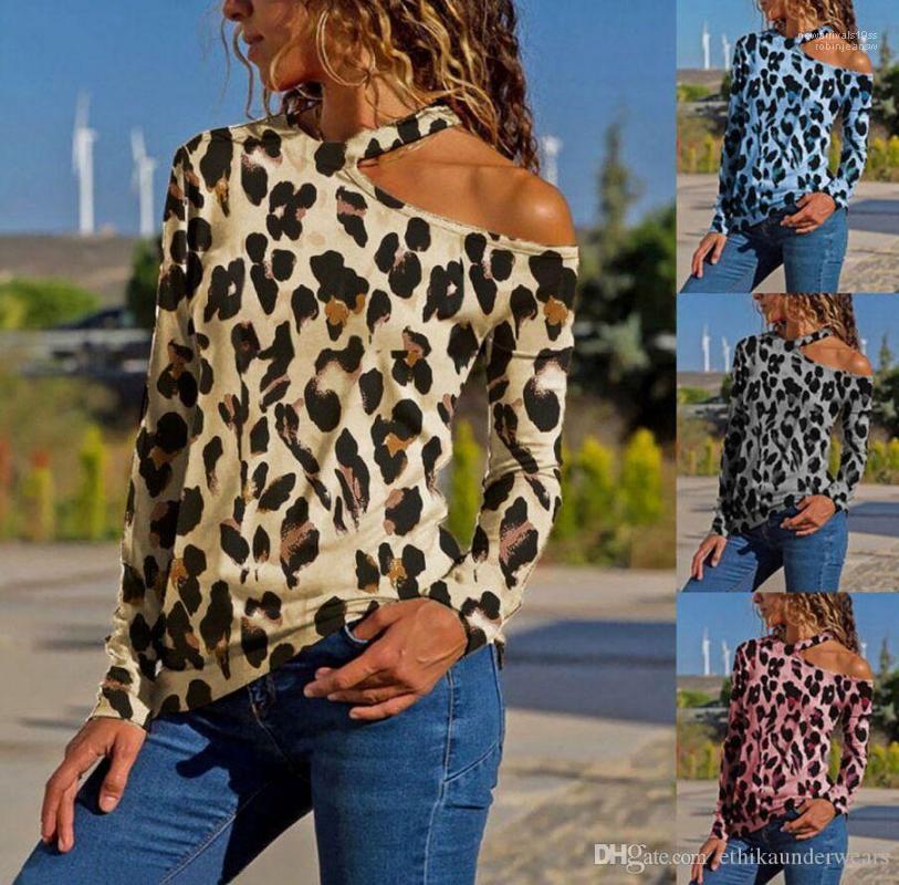 Seksi Giyim Uzun Kollu Relaxed Gündelik Giyim Bayan Yaz Tasarımcı Slash Boyun Gömlek Moda Print Leopard