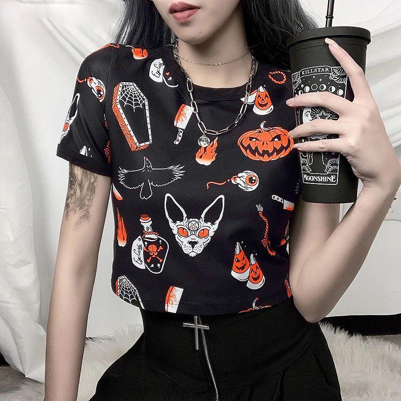 Pattern Print O-collo manica corta T-shirt zucca stampa casuale Donne ritagliata Top Slim elastico Streetwear T Nero