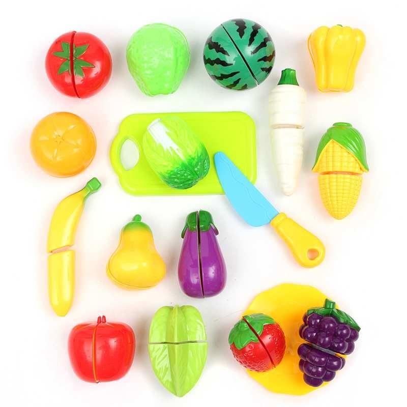 18 unids / set Venta Caliente De Plástico Cocina Alimentos Frutas Vegetales Cortar Niños Pretender Jugar Juguetes Educativos de Seguridad Niños Juguetes de Cocina
