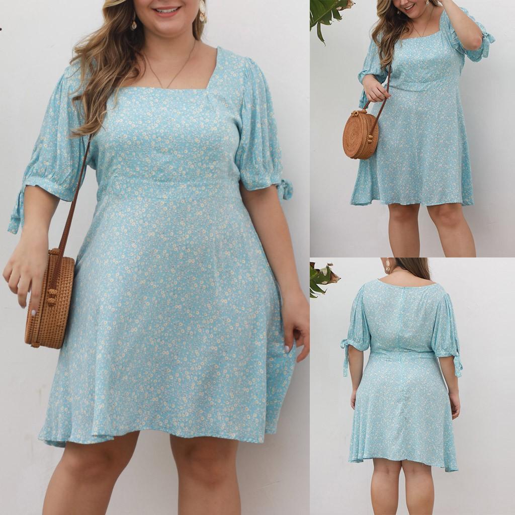 Vestido azul do verão Plus Size flor manga mini vestido chiffon curto imprimir Praia florais Vestidos Vestido de Verão Vestidos tallas adicional