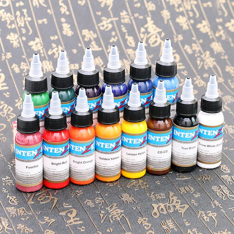Hot High Quality Tattoo Ink Set Tattoo Pigment 14 Color Set 1 Oz /30ml/bottle Tattoo Paint Kit for 3D Makeup Beauty Skin Body Art