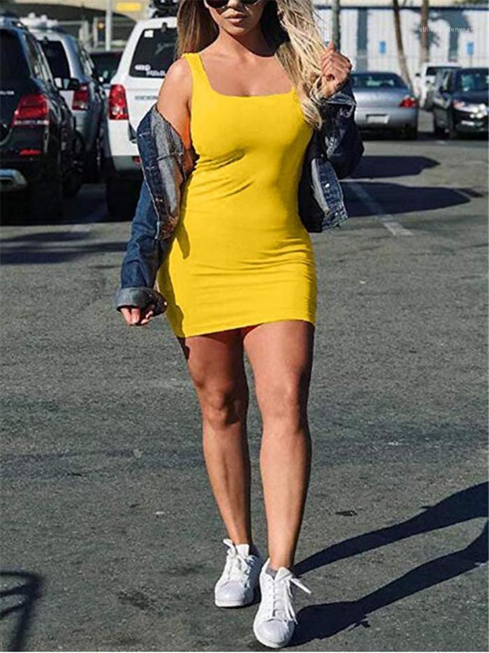 Sommer-Party-Weste-Rock-Frauen-Sleeveless feste Bodycon kurze Kleid Mode Weibliche Bekleidung Designer Sexy Girl