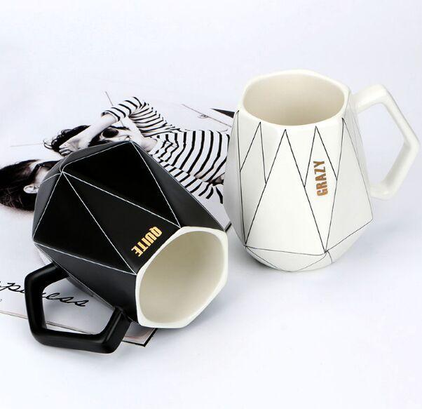كأس السيراميك الإبداعية المضلع السيراميك القدح مكتب أسود أبيض خط القهوة كوب الحليب كأس زوجين لطيف الماس أكواب مصنع المباشر
