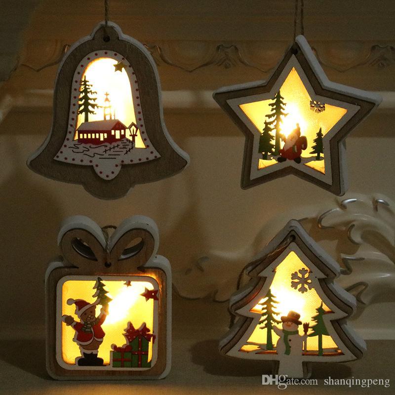 New Christmas decorations Christmas lights with light wooden pendants Beautiful Christmas tree pendants Creative small gifts wholesale
