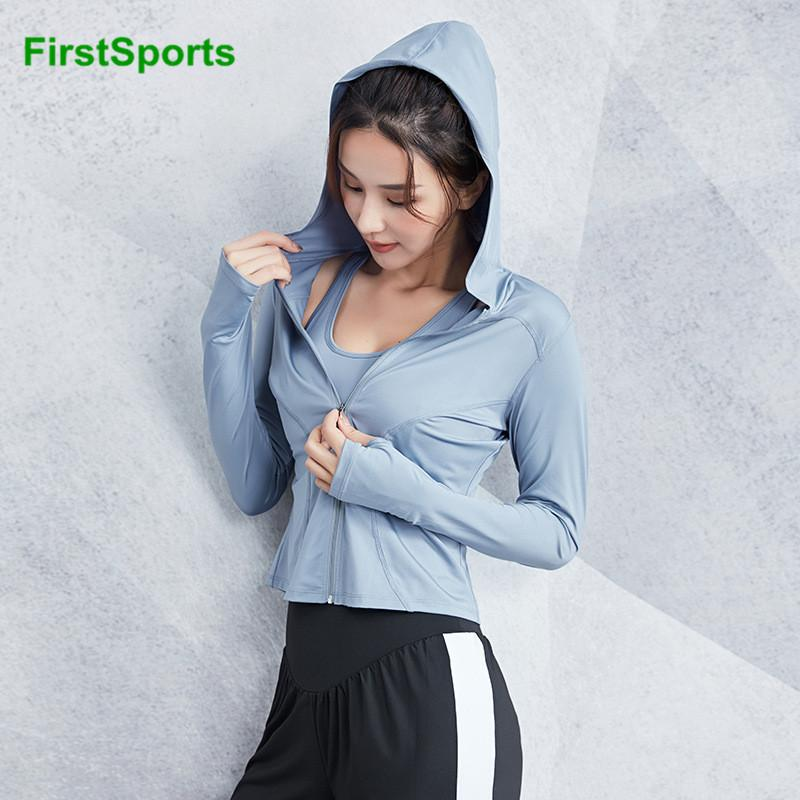Sports Running Jackets Womens Slim Outline Gym Yoga Hoodies Long Sleeve Zipper Fitness Workout Jogging Sweatshirts Tops
