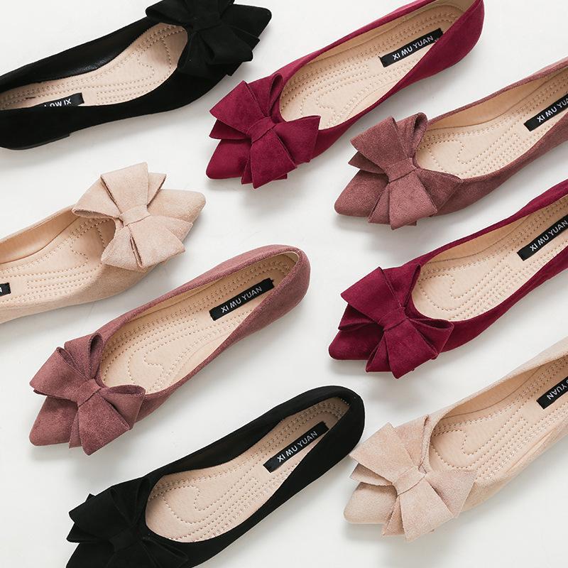 큰 사이즈 봄 활 플랫은 여성 나비 매듭 발레 OL 사무실 신발을 접이식 발레리나에 뾰족한 발가락 얕은 슬립 신발