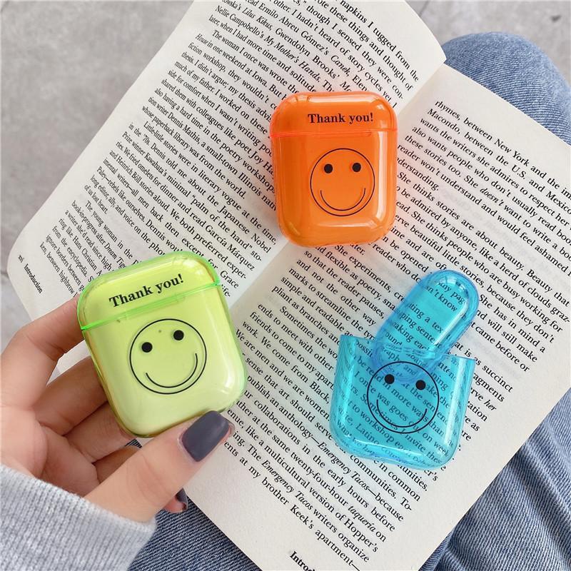 Fluorescente al neon Verde Arancione Aqua Blue Thank You Smile copertura auricolare wireless Bluetooth per Apple Airpods 1 2 Pro carica Caso
