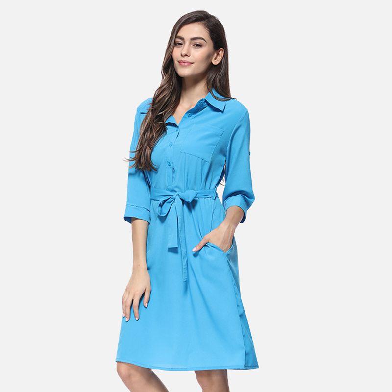 Donna Solid casuale camicia allentata Dress 2019 nuovo modo Sette trimestre estate del manicotto del vestito delle signore Bow Sashes Midi
