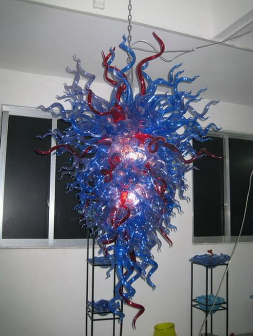 Nuevo diseño moderno de lujo italiana Dale Chihuly Estilo Azul Soplado de techo de cristal de Murano lámpara de luz