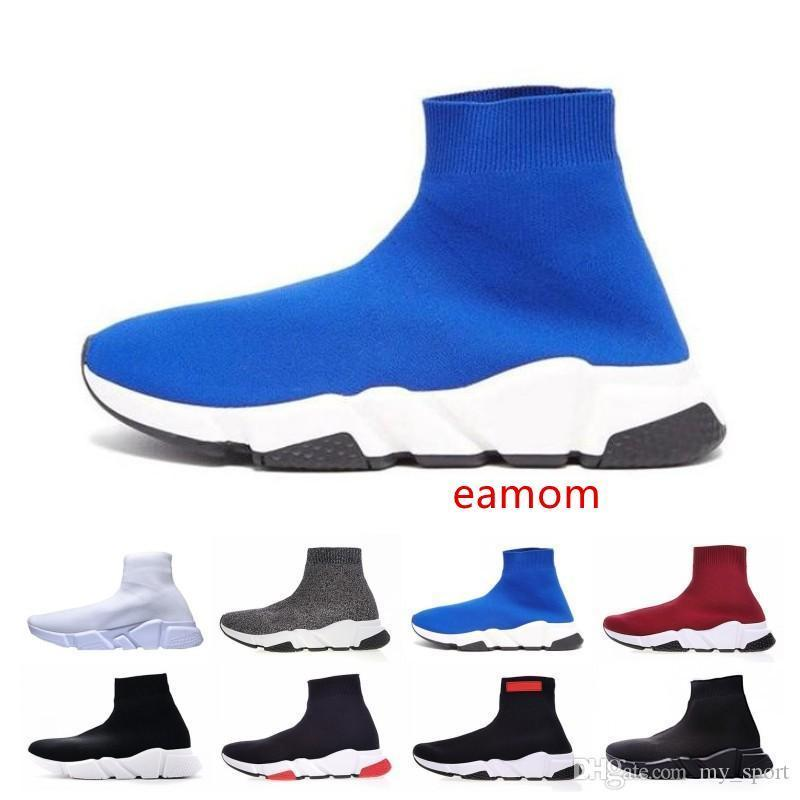 Venta caliente de los zapatos de lujo velocidad del corredor del calcetín Top Calidad Triple Negro Oreo Zapatos Casual Rojo plana Trainer Hombres Mujeres Botas deportivas