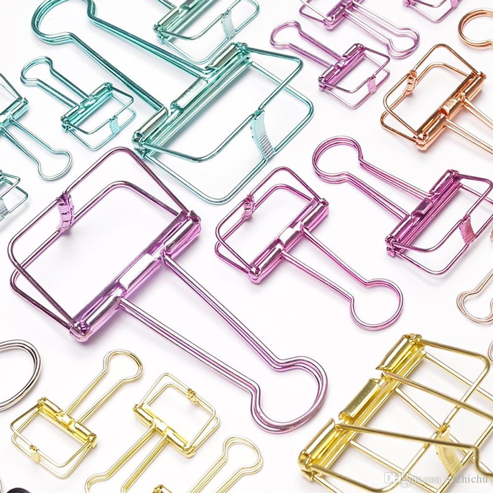 30pc / Lot 다채로운 금속 중공 와이어 바인더 클립 사무용 종이 클램프 폴드 백 클립 사무용 바인딩 용품