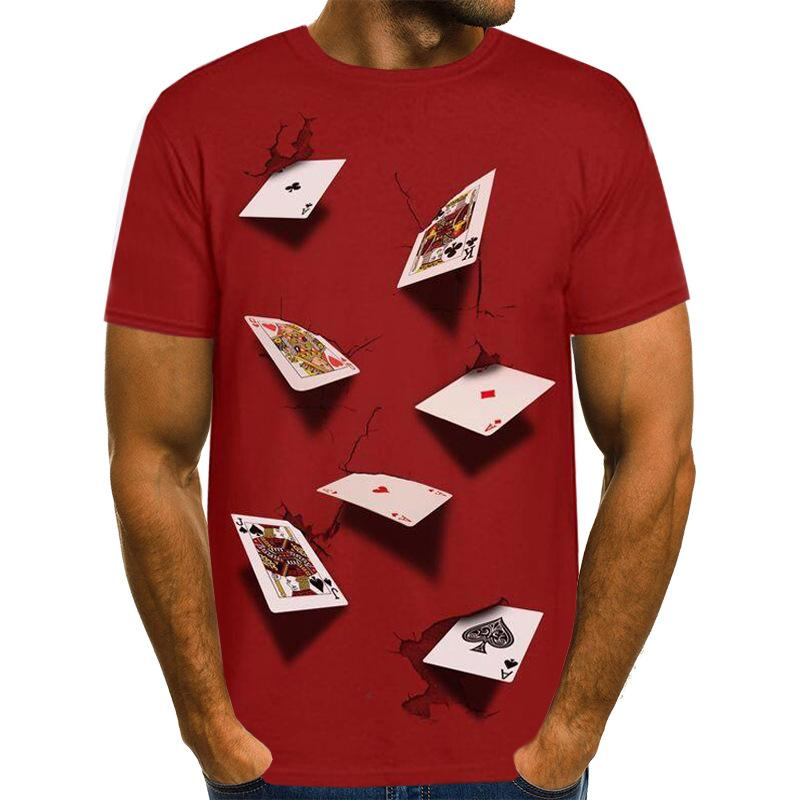 3D Poker Designer Mens Camisetas Verão Moda Casual Top Casual Manga Curta Tees