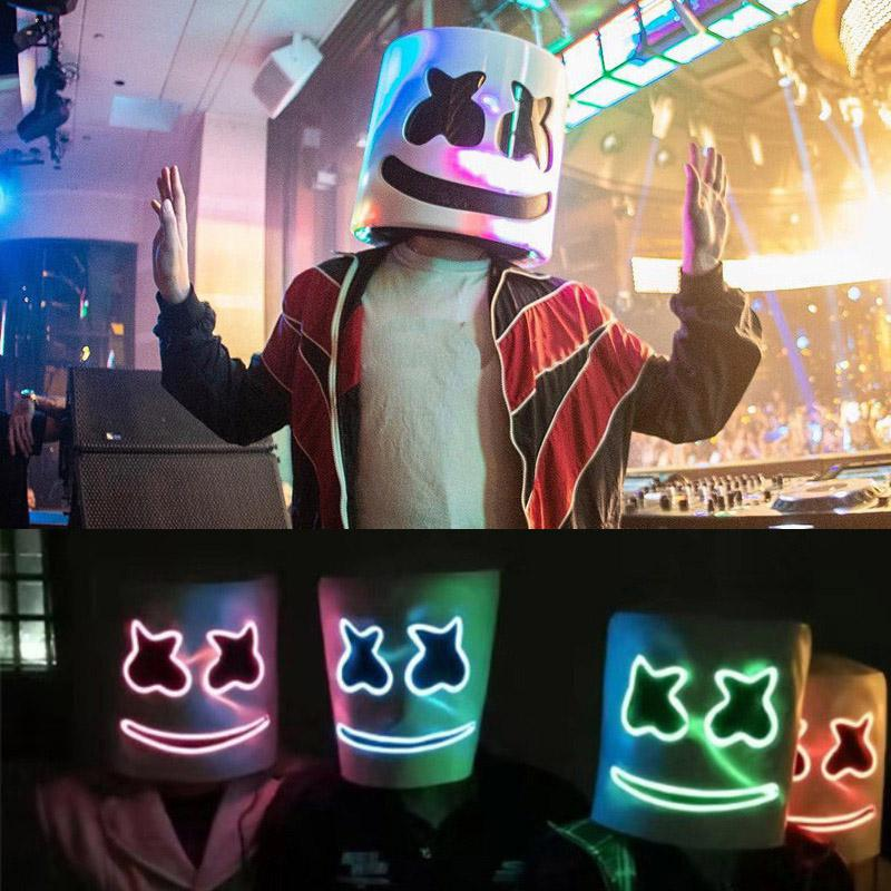 Marshmello Halloween 2020 2020 Marshmello DJ Mask EL Wire LED Helmet Mask Cosplay Prop