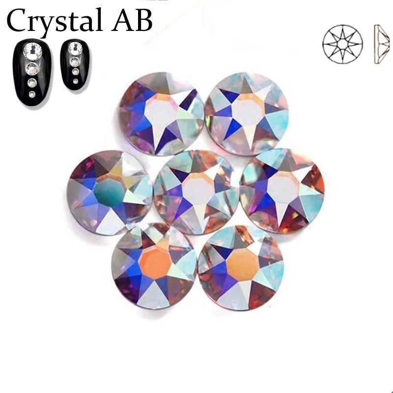 جديد 2088 قص 16 جوانب Crystal AB Nail Art الراين غير الإصلاح الذهبي قاعدة للالهاتف المحمول الديكور الفاخرة
