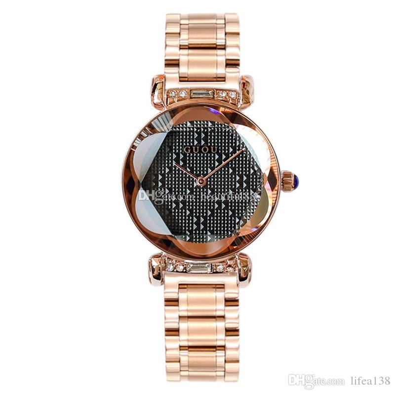 100% Hot GUOU Brand Quartz Lady Watch Rhinestone Waterproof Women Personality 3D Mirror Steel Upscale Dial Luxury Wristwatch With Gift Box