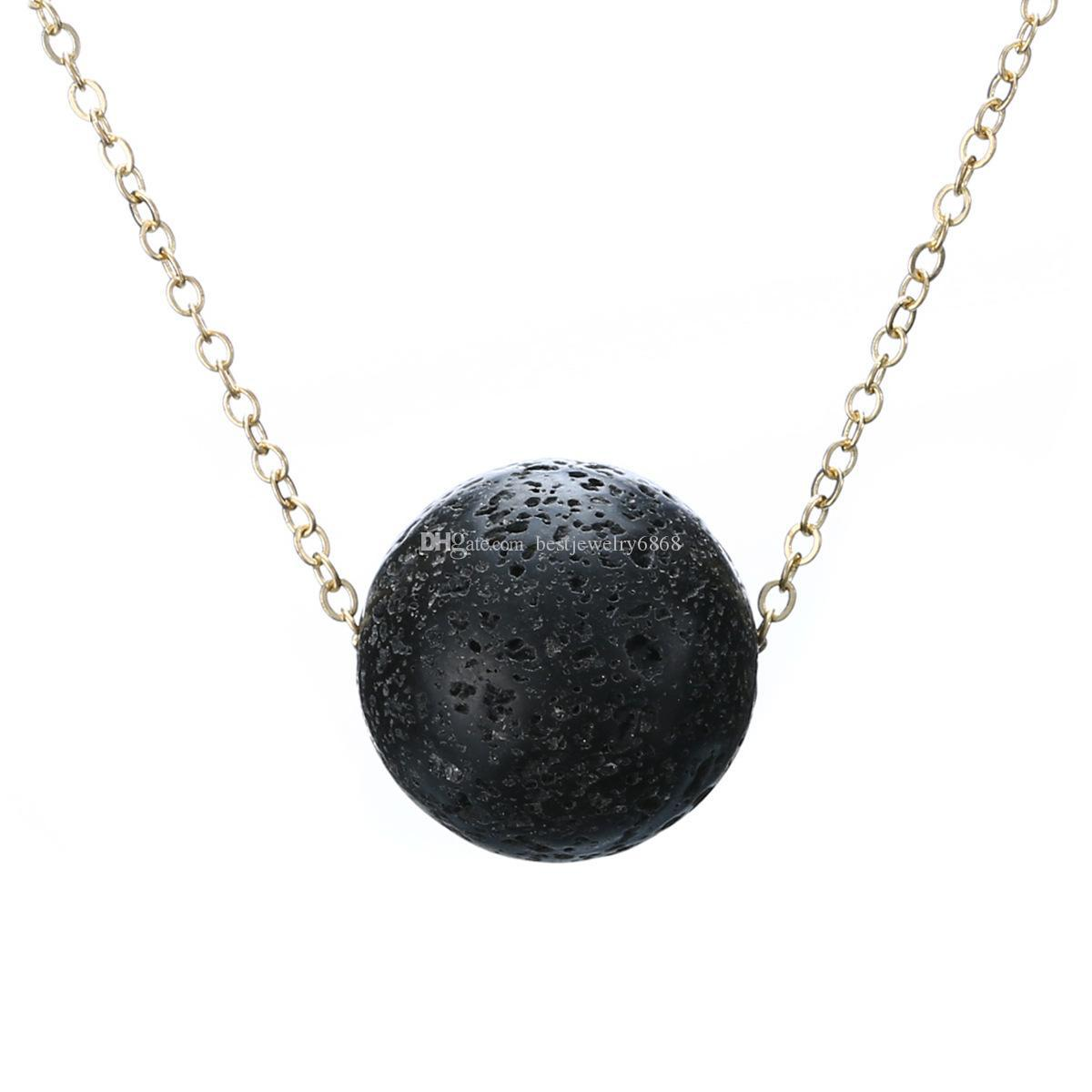 Hot Sell 2 Style Lava Rock necklaces Circle triangle Essential Oil Diffuser Natural stone Pendant Aromatherapy necklaces For women Jewelry