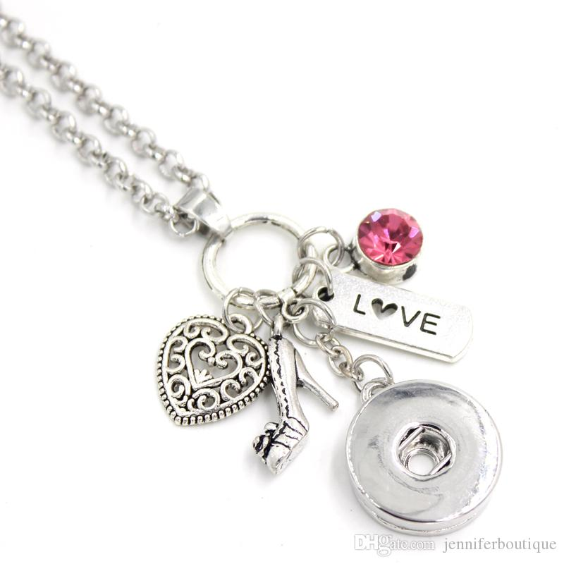 New Arrival Nice Valentine Gifts High heel shoe Heart Love Charms Necklace Valentine Necklace 18mm Snap button jewelry collar necklace gifts