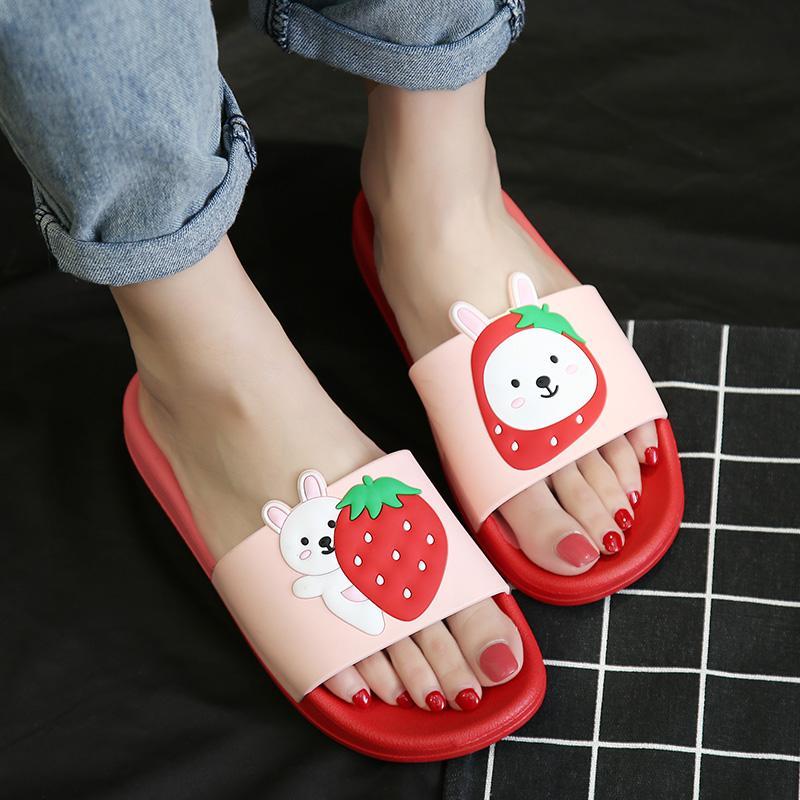 Women Summer Slippers Slide Sandals Beach Slides Flip Flops Cartoon Fruits Strawberry Rubber Thick Soled Women Men Couple Shoes