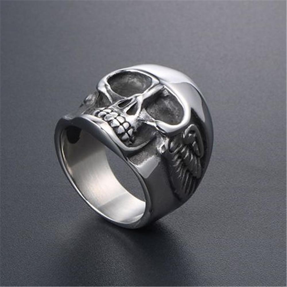 punk estilo de dedo del anillo del cráneo de regalos para los hombres de acero inoxidable de alta calidad de manera joyería del anillo de la vendimia de Halloween no-muertos Decoraciones 512