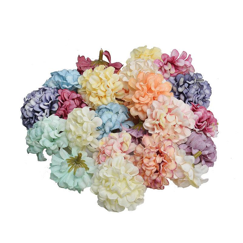 Silk Hydrangea Handmade Artificial Flower Head Wedding Party Home Decoration Diy Wreath Gift Box Scrapbook Craft