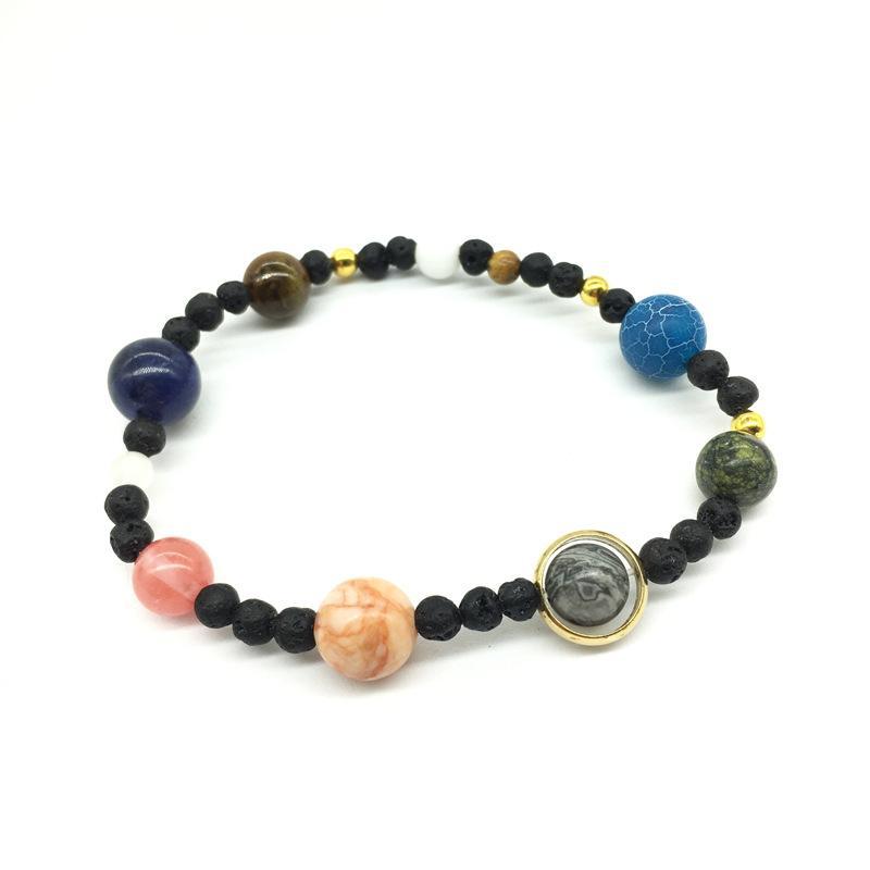 довольно энергии браслет красивые ювелирные изделия Женщины Вселенной Planets бисер браслеты браслеты моды Солнечный камень браслет система Natural